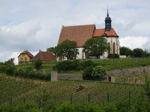 Vineyards and a church on the way to Würzburg