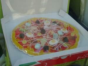 A gummy pizza.